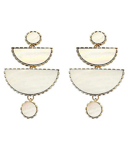 Panacea Mother of Pearl Half Circle Linear Earrings
