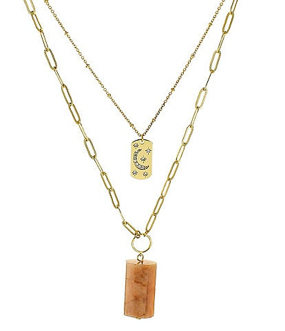 Panacea Peach Stone Multi Layer Necklace