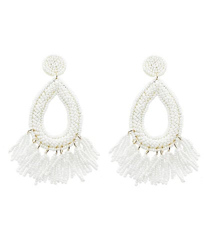 Panacea Seed Beaded Drop Statement Earrings