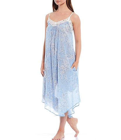 Papinelle Cherry Blossom Woven Blend Sleeveless Maxi Nightgown