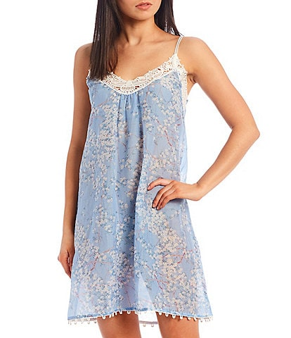 Papinelle Cherry Blossom Woven Blend Sleeveless Nightgown