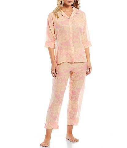 Papinelle Hydrangea Printed Woven Button-Front Top & Shorts Coordinating Pajama Set