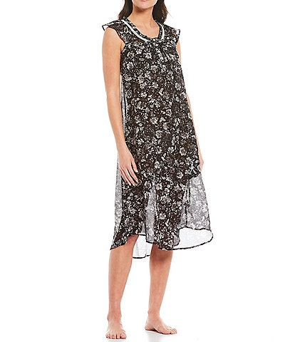 Papinelle Louis Dark Floral Print Woven Flutter Sleeve Nightgown