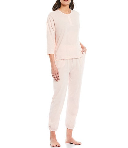 Papinelle Unwind Henley Top and Jogger Pajama Set