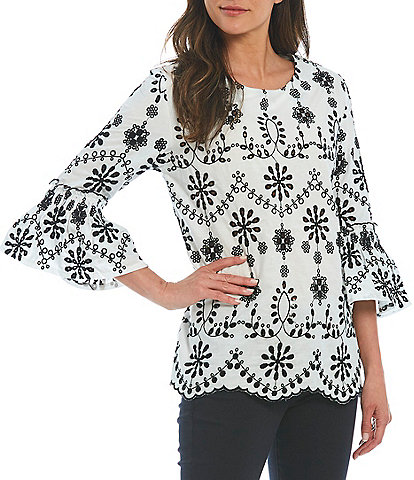Paris Hues 3/4 Bell Sleeve Embroidered Cotton Blouse