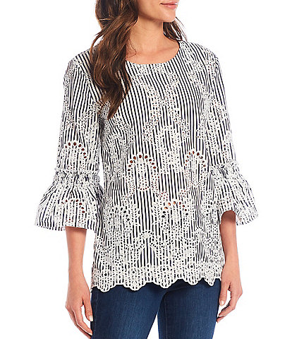 Paris Hues 3/4 Bell Sleeve Striped Embroidered Cotton Blouse