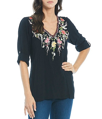 Paris Hues 3/4 Roll Tab Sleeve Floral Embroidered Tunic