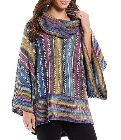 Paris Hues Long Dolman Sleeve Multicolor Knitted Striped Sweater Poncho