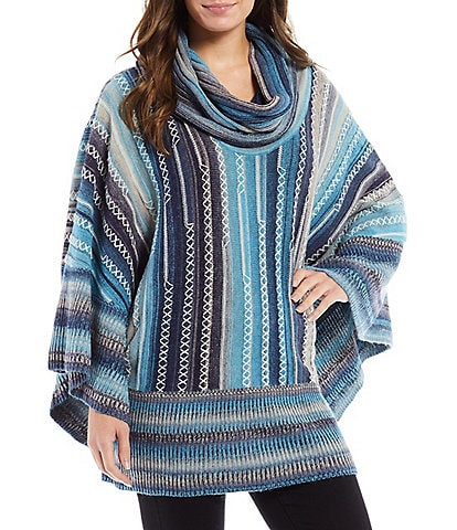 Paris Hues Dolman Sleeve Multicolor Knitted Striped Straight Hem Sweater Poncho