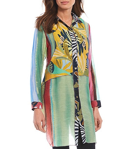 Paris Hues Leaf Print Long Sleeve Button Down Layered Hem Tunic