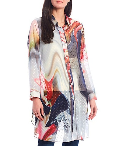 Paris Hues Sheer Button Front Long Sleeve Point Collar Abstract Print Tunic