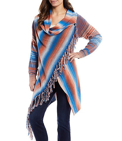 Paris Hues Striped Crossover Cowl Neck Long Sleeve Fringed Wrap Cardigan