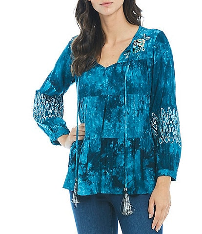 Paris Hues Woven Long Sleeve Embroidered Tie-Dye Blouse