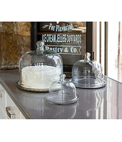 Park Hill Vintage Farmhouse Collection Cake and Pastry Domes with Saucers, Set of 3
