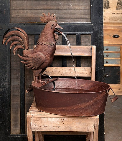 Park Hill Vintage Farmhouse Collection Folk Art Rooster Fountain