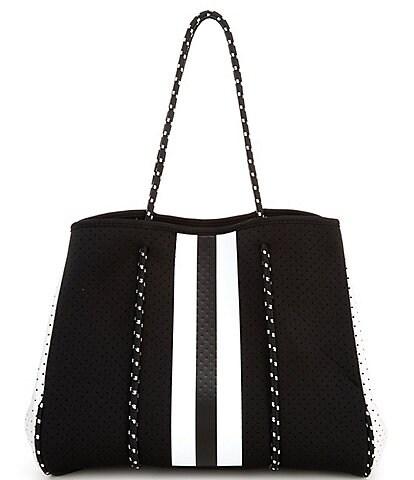 Parker & Hyde Black and White Stripe Neoprene Tote Bag