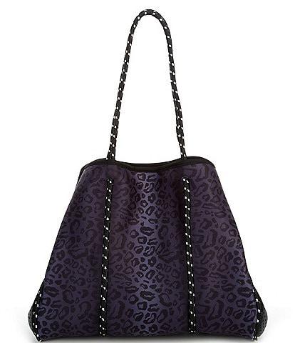 Parker & Hyde Neoprene Black Leopard Tote Bag