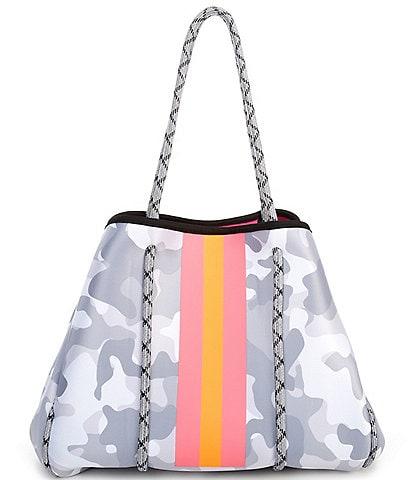 Parker & Hyde Neoprene White Camo and Coral Stripe Tote Bag