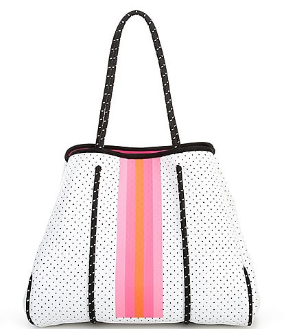 Parker & Hyde White and Pink Stripe Neoprene Tote Bag
