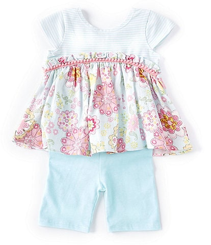 Pastourelle by Pippa & Julie Baby Girls 12-24 Months Striped/Floral Tunic Top & Bike Shorts Set