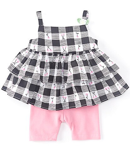 Pastourelle by Pippa & Julie Baby Girls Newborn-24 Months Checked/Cherry-Print Tank Top & Bike Shorts Set