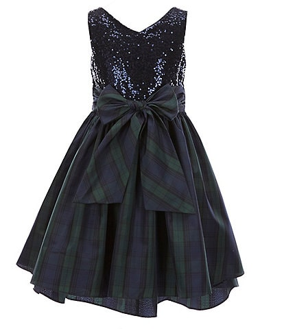 Pastourelle by Pippa & Julie Big Girls 7-16 Sequin/Blackwatch-Plaid Hi-Low Dress