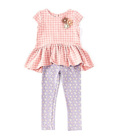 52eedff5ca080f Pastourelle by Pippa & Julie Little Girls 2T-6X Checked Top & Leaf-Printed