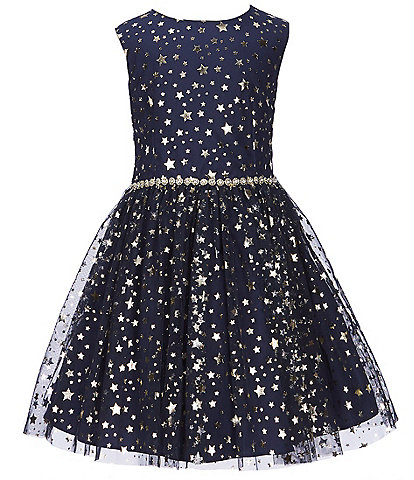 Pastourelle by Pippa & Julie Little Girls 2T-6X Foiled-Star-Printed Fit-And-Flare Dress