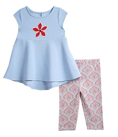 Pastourelle by Pippa and Julie Little Girls 2T-6X Starfish-Motif Tunic Top & Printed Capri Leggings Set