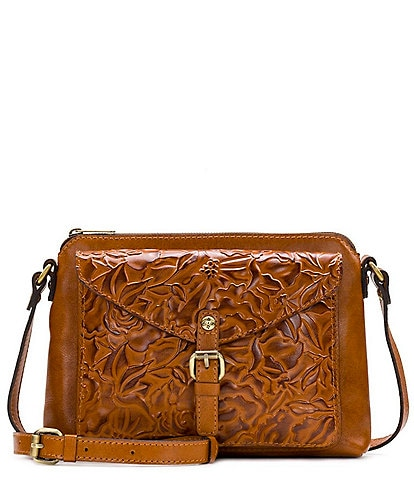 Patricia Nash Antique Rose Tooling Collection Leather Avellino Crossbody Bag
