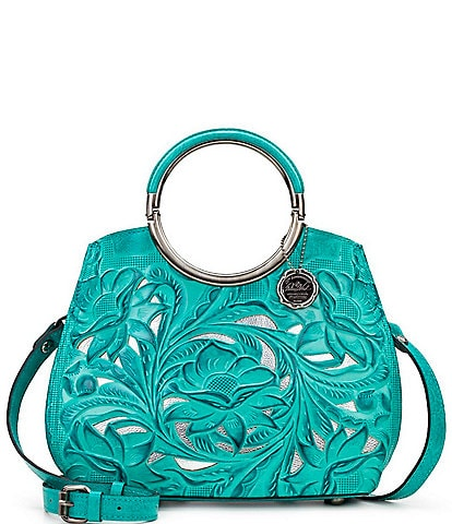 Patricia Nash Cut Out Tooling Collection Aria Ring Handle Floral Shopper Tote Bag