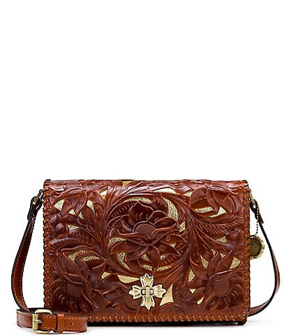 Patricia Nash Cut Out Tooling Collection Mabilia Floral Leather Flap Crossbody Bag