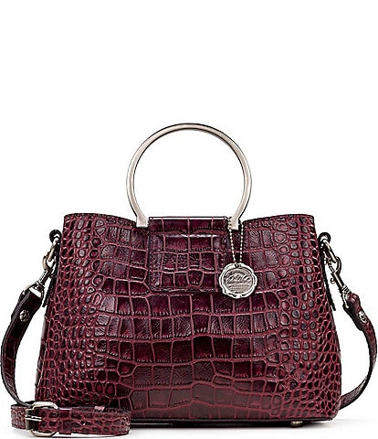 Patricia Nash Distressed Vintage Crocodile Collection Empoli Ring Handle Satchel Bag