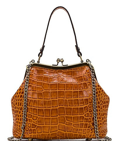 Patricia Nash Distressed Vintage Crocodile Collection Laureana Frame Crossbody Bag