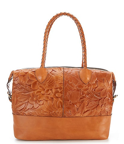 Patricia Nash Floral Deboss Saluzzo Leather Overnighter