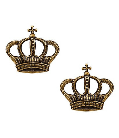 Patricia Nash Gold Tone Crown Stud Earrings