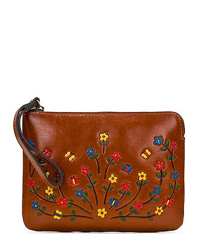 Patricia Nash Hand Painted Floral Collection Cassini Leather Wristlet