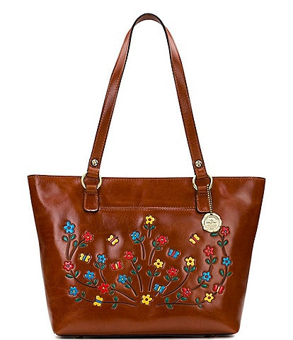 Patricia Nash Hand Painted Floral Collection Lindsell Leather Tote Bag