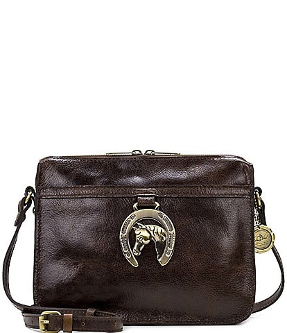 Patricia Nash Heritage Horse Shoe Collection Nazaire Leather Gold-Tone Crossbody Bag