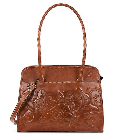 Patricia Nash Large Paris Tooled Floral-Embossed Satchel