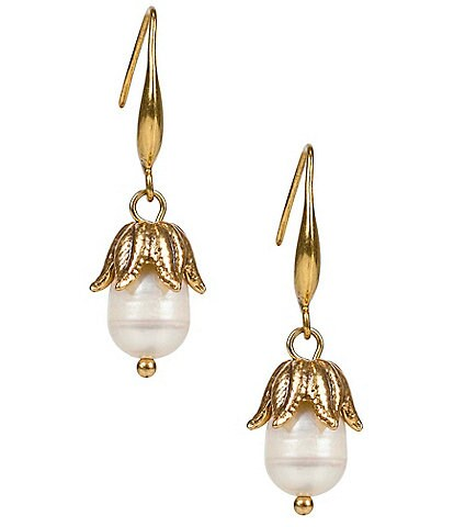 Patricia Nash Leaf and Pearl Drop Earrings