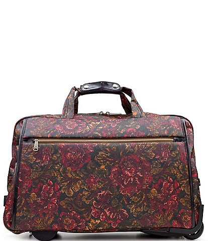 Patricia Nash Patina Coated Linen Canvas Vintage Floral Brocade Collection Argentella Large Trolley Wheeled Duffle Bag