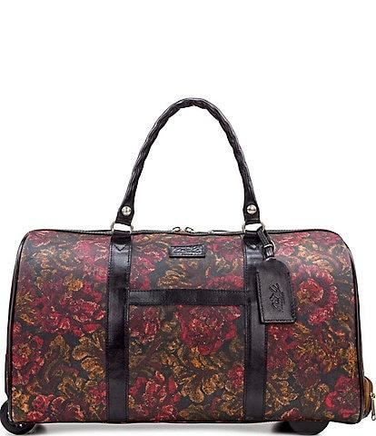 Patricia Nash Patina Coated Linen Canvas Vintage Floral Brocade Collection Avola Trolley Wheeled Duffle Bag