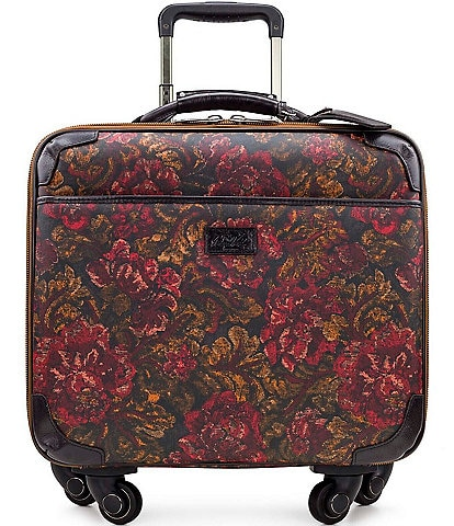 Patricia Nash Patina Coated Linen Canvas Vintage Floral Brocade Collection Velino Trolley Wheeled Cary-On Spinner