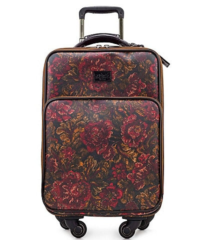 Patricia Nash Patina Coated Linen Canvas Vintage Floral Brocade Collection Vettore Trolley Wheeled Carry-On Spinner