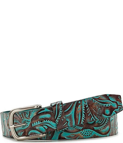 Patricia Nash Pelosa Tooled Turquoise 1.25#double; Belt