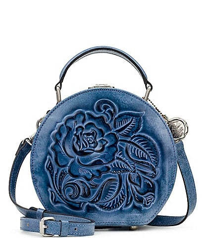 Patricia Nash Rose Tooling Collection Allier Vintage Inspired Leather Floral Crossbody Bag