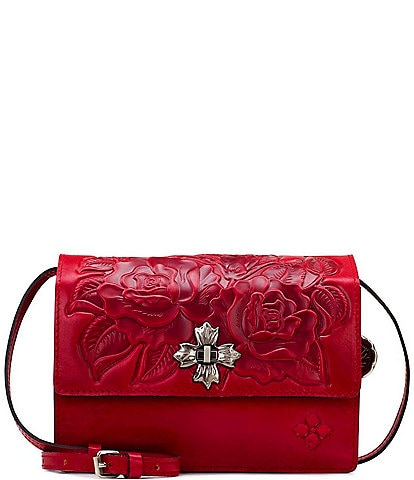 Patricia Nash Rose Tooling Collection Consilina Leather Floral Crossbody Bag