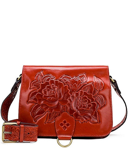 Patricia Nash Rose Tooling Collection Ilina Floral Leather Crossbody Bag
