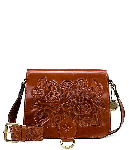 Patricia Nash Rose Tooling Collection Ilina Leather Crossbody Bag